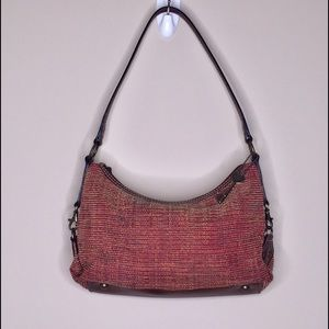 Fossil Small Woven Carpet Bag Purse Leather Strap
